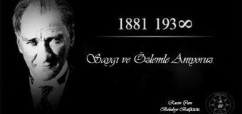 Başkan Çam'ın 10 Kasım Gazi Mustafa Kemal Atatürk'ü Anma Mesajı